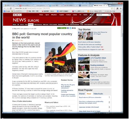 BBCの国家イメージ調査のレポート